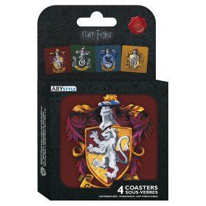 harry-potter-set-4-coasters-houses-gryffindor-ravenclaw-slytherin-hufflepuff-hogwarts-häsuer-untersetzer