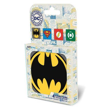 dc-comics-set-4-coasters-emblem-untersetzer-green-lantern-batman-superman-flash