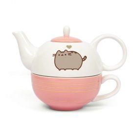Pusheen – Teekanne & Tasse – mit Goldverzierung