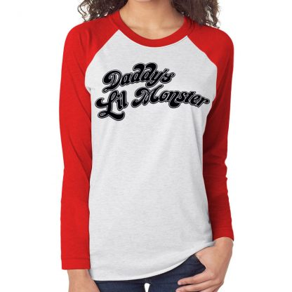 dc-comics-suicide-squad-harley-quinn-daddys-daddy's-lil-little-monster-baseball-shirt-girlie-rot-red-white-weiss